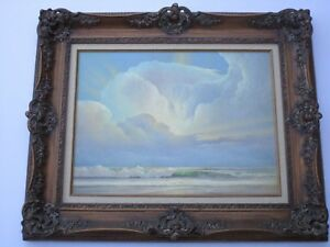 WILLIAM-F-POWELL-PAINTING-CALIFORNIA-COASTAL-SUNSET-BEFORE-THE-STORM-SEASCAPE