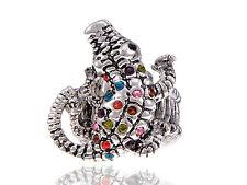 Rainbow Colorful Crystal Rhinestone Crocodile Alligator Silver Tone Trend Ring