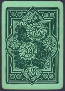 Playing-Cards-1-Single-Card-Old-Antique-Wide-Non-Rev-CHRYSANTHEMUM-FLOWERS-Art