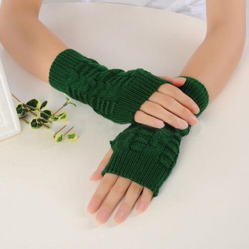 Damen Winter Warm Handschuhe Gestrickt Handstulpen Pulswärmer Strick Armstulpen