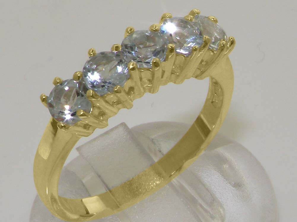 14ct Yellow gold Natural Aquamarine Womens Eternity Ring - Sizes J to Z