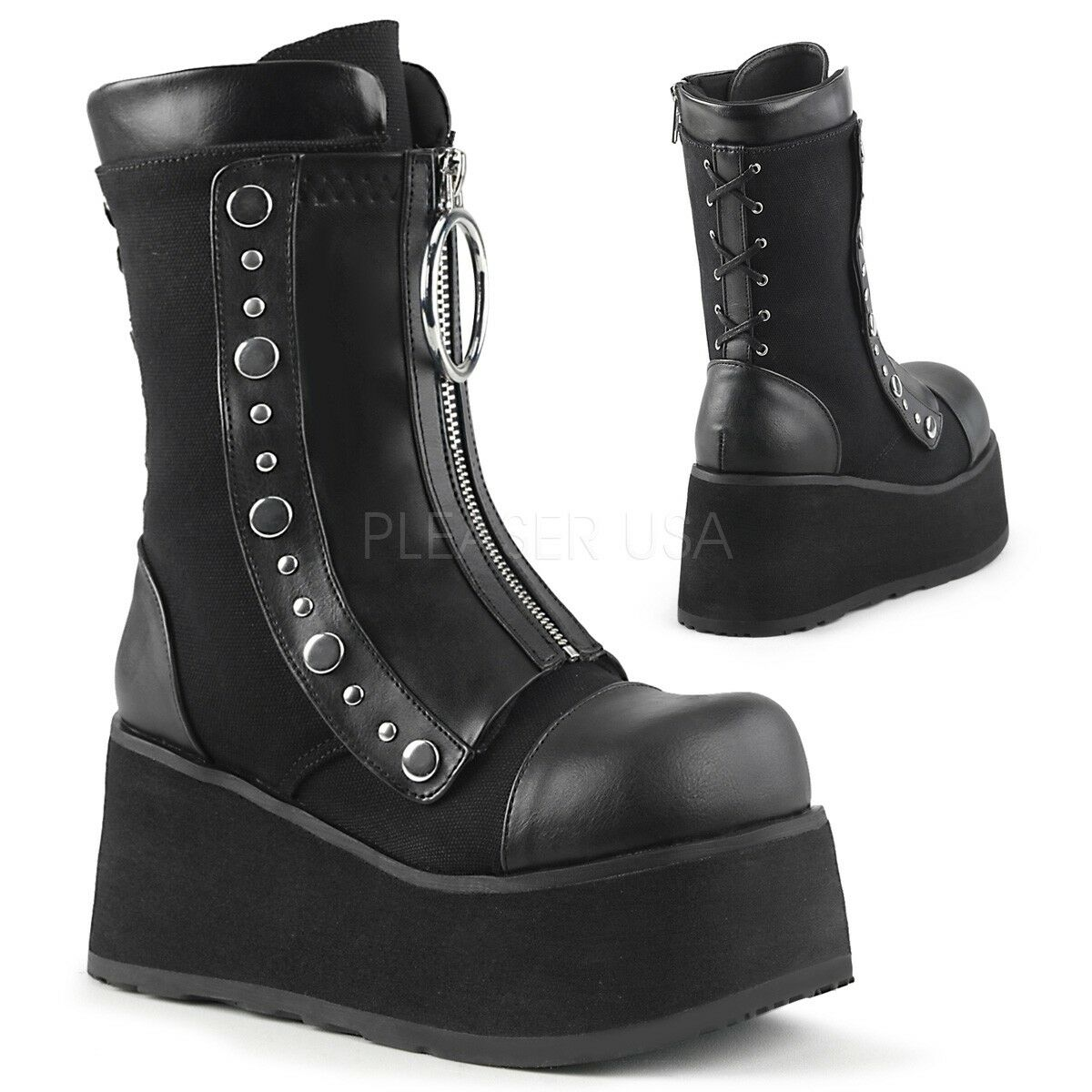 Demonia Clash 206 Black Faux Leather Canvas Hidden Zip Gothic Platform Calf Boot