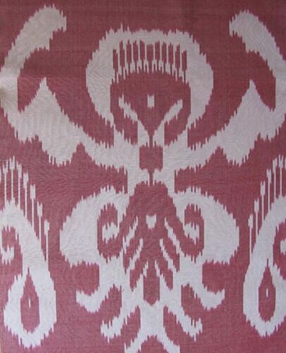 3.2 Yard HAND MADE UZBEK Natural SILK IKAT ADRAS FABRIC # 5927