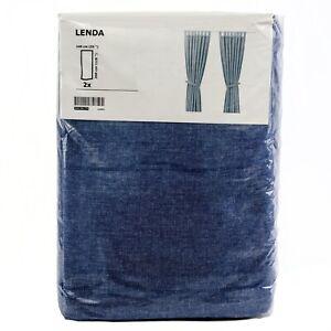 IKEA-LENDA-2-Gardinen-blau-Vorhang-Vorhaenge-145x300cm-Gardinenpaar