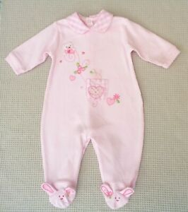 COCO-Baby-Girls-Pink-Embroidered-Bunny-Heart-Bear-Babygrow-Sleepsuit-0-3-months