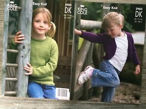 5ce3a3f7af3 King Cole Knitting Pattern Girls Sweater amp Cardigan DK 2228034 2983 -  Exeter
