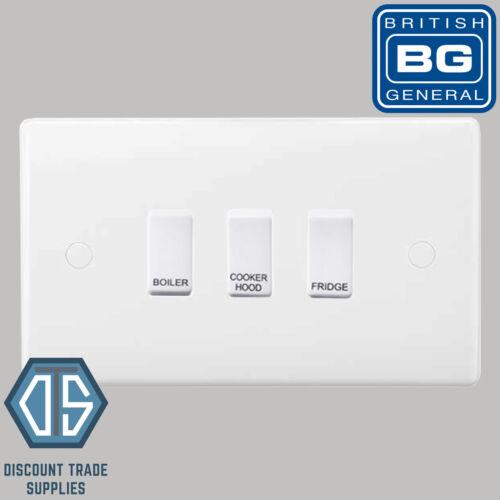 BG White Custom Grid Switch Panel Labelled Kitchen Appliance 3 Gang