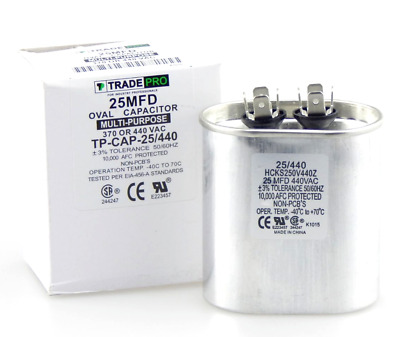 by Trade Pro and Compressors Condenser Fan Motors 40 mfd Capacitor Heat Pumps Oval Multi-Purpose 370//440 Volt Industrial Grade Replacement for Central Air-Conditioners
