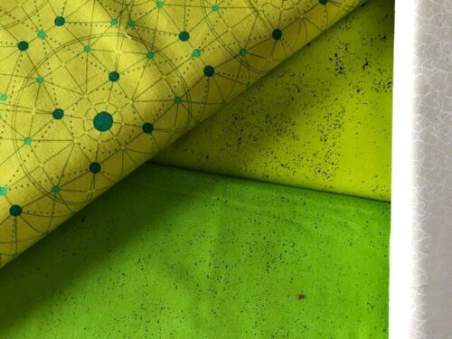 3 Fat Quarters  Declassified Lime Green UFO Space by Giucy Giuce