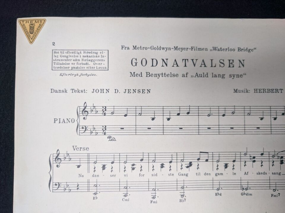 Klavernoder, Godnatvalsen