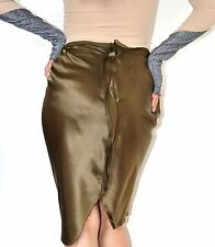 Lanvin runway olive silk pencil  skirt Size FR36 UK8