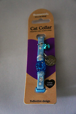 REFLECTIVE CAT COLLAR WITH ENGRAVED ID TAG, BELL AND SPLIT RINGS