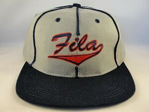 Image is loading Fila-Vintage-Snapback-Hat-Cap-Gray-Navy 0dda378b4cf