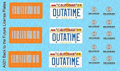 1//15 Custom License Plate DECALS POUR Diamond Select Delorean-Parzival Outatime