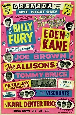 RR23 Vintage Billy Fury Rock /& Roll Concert Advertisement Music Poster A3//A4
