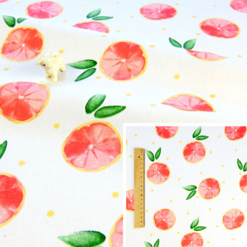 WHITE Meter//Fat Quarter//Square Cotton Fabric Quilt Craft Sew Fruit Orange Summer
