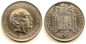 Spain-Estado-Espanol-5-Pesetas-1949-19-50-Madrid-SC-UNC-Niquel-15-g