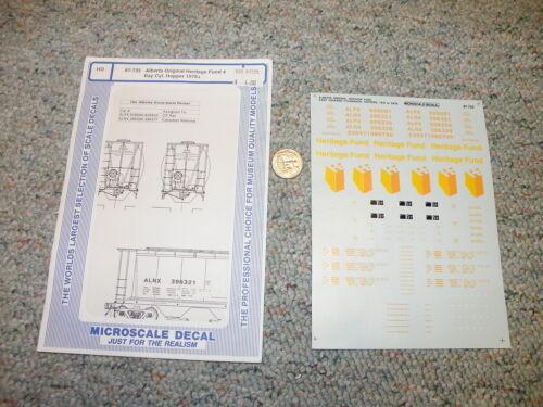 Microscale decals HO 87-725 Alberta Heritage Fund 4 bay cyl hopper J128