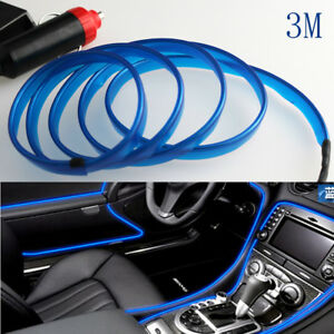 Universal-Car-3M-Interior-LED-Decor-Wire-Strip-Atmosphere-Neon-Cold-Light-Blue