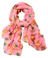 Printed Village Hawaiian Slice Scarf Shawl Wrap Cover Up Sarong Tropical Pink