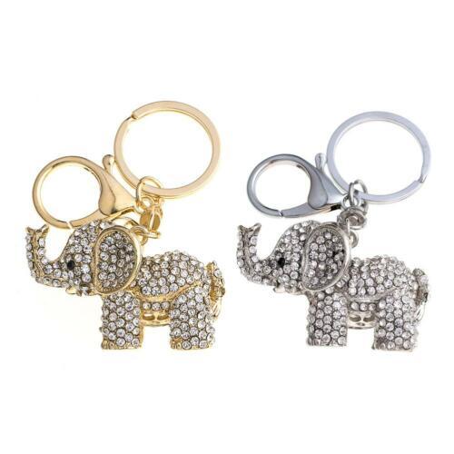 Lovely Elephant Keychain Rhinestone Women Bag Pendant Key Ring Jewelry Gift Xmas