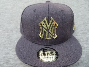 MLB White Gold Snap back Cap Metallic Logo Adjustable Limited NY Yankees Hat