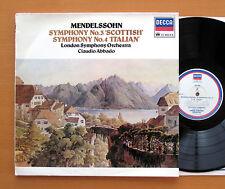 JB 103 Mendelssohn Symphony no. 3 & 4 Claudio Abbado LSO Decca Jubilee EX/VG