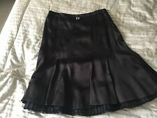 Karen Millen Chocolate Brown Satin Skirt - Very Flattering- fits 12-14