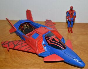 "Spiderman Web Jet Fahrzeug & Action Figur Set 2009 Hasbro 3.75"" Marvel Comics"