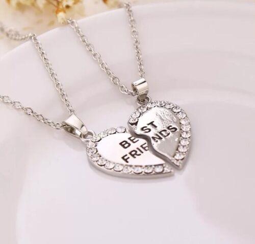 "Fashion Heart Double /""BEST FRIEND/"" Friendship Silver Necklace Pendant Chain"