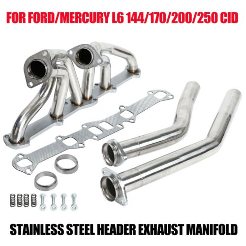 STAINLESS STEEL HEADER EXHAUST MANIFOLD FOR FORD//MERCURY L6 144//170//200//250 CID