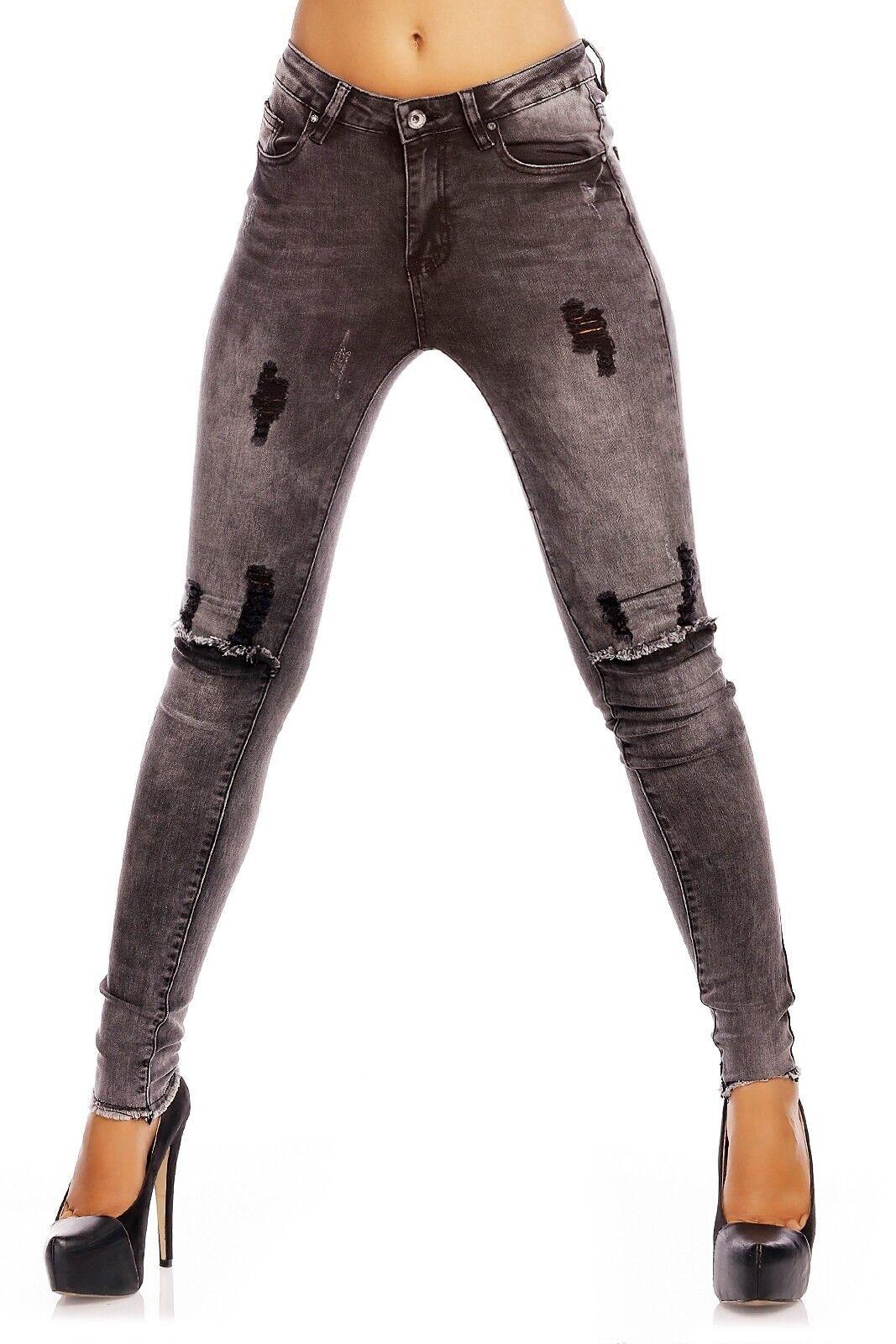 Laulia Destroyed Jeans stonewashed  grey   HIGH WAIST