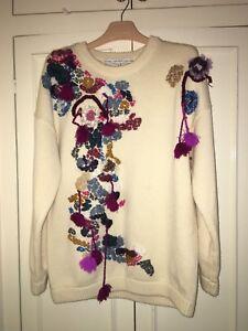 Andre Størrelse historier Hvid M Blomsterbroderi Sweater PwP7OrTq