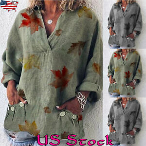 Womens-3-4-Sleeve-V-Neck-Pocket-Shirt-Ladies-Leaf-Print-Softstyle-Tops-Blouse