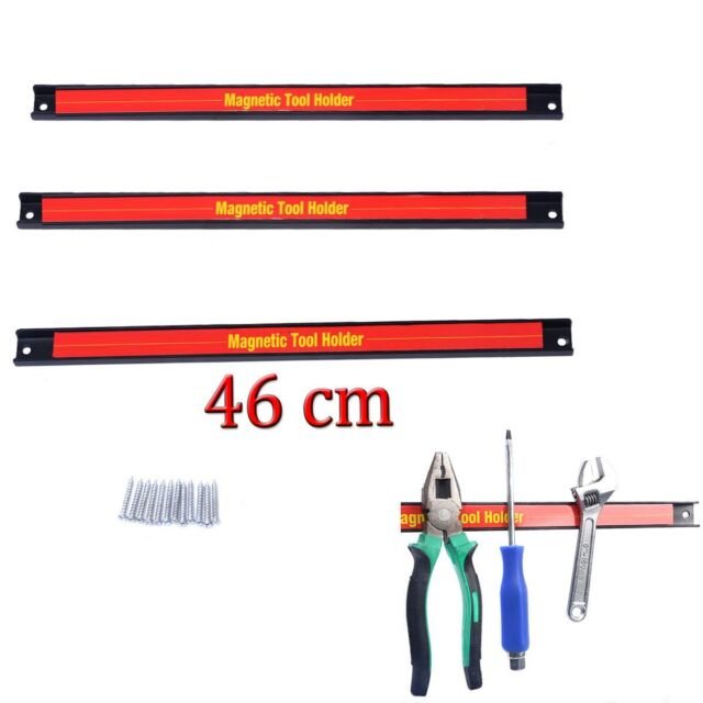 "3PC 460mm MAGNETIC BAR TOOL WALL HOLDER STORAGE RACK ORGANISER RAILS 18"" kitchen"