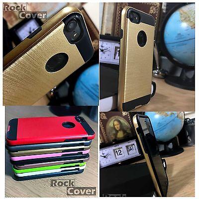 Apple Iphone 8 Custodia Effetto Metallo Strato Protettivo Resistente Oro Spedizione Gratuita-
