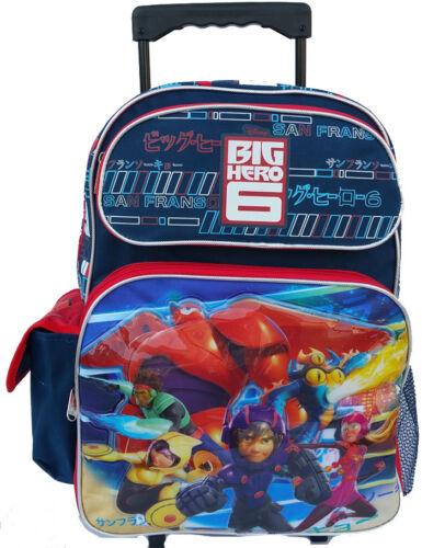 "Big Hero 6 Large 16/"" Roller Backpack Wheels backpack NEW Licensed"