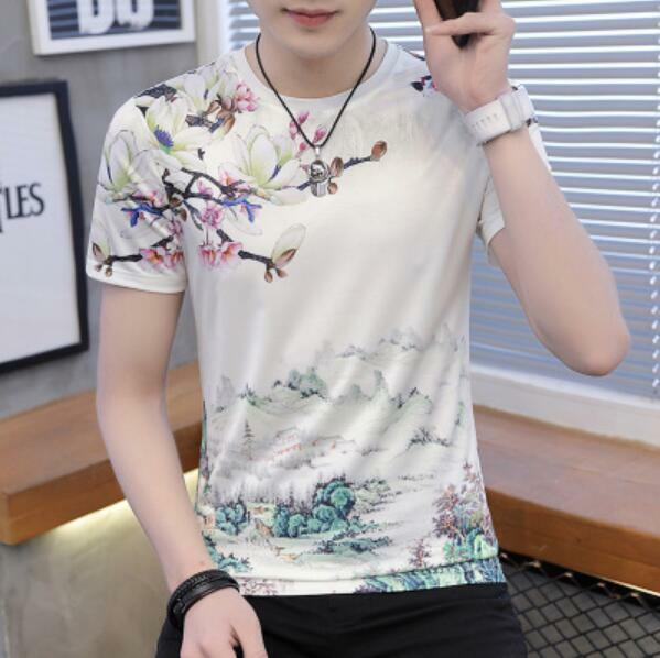 Mens Short Sleeve Ice Silk Floral Printing Slim Tee Casual T Shirts Chinese Tops