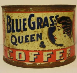 Vintage-1930s-BLUE-GRASS-QUEEN-GRAPHIC-COFFEE-TIN-ONE-POUND-LEXINGTON-KENTUCKY