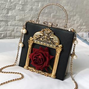 Women Box Bag 3D Rose Flower Pearl Chain Purse Clutch Luxury ...