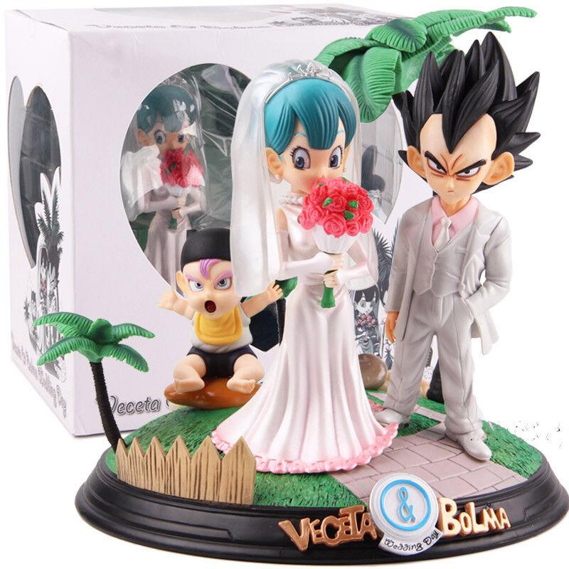 Dragon Ball Vegeta Bulma Día De Boda estatua PVC Juguete Modelo Coleccionable Figura Set