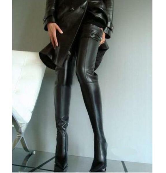 Womens pointed toe Sexy leather stiletto Party over knee High Thigh boot shoes