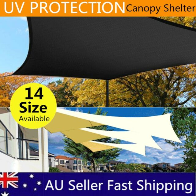 Extra Waterproof Shade Sail Cloth Rectangle Triangle Square Sand Sun Canopy AU