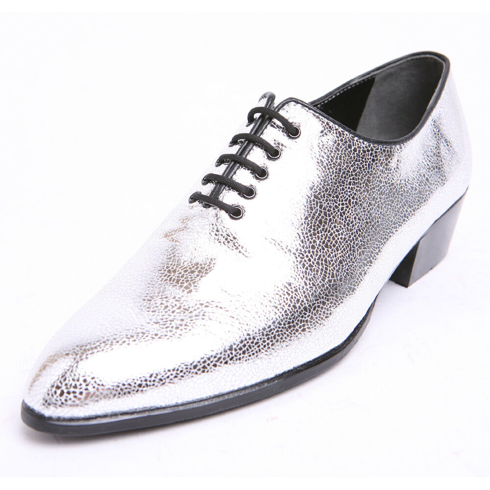 Men's glitter silver pointed toe close lacing high heels party wear oxfords