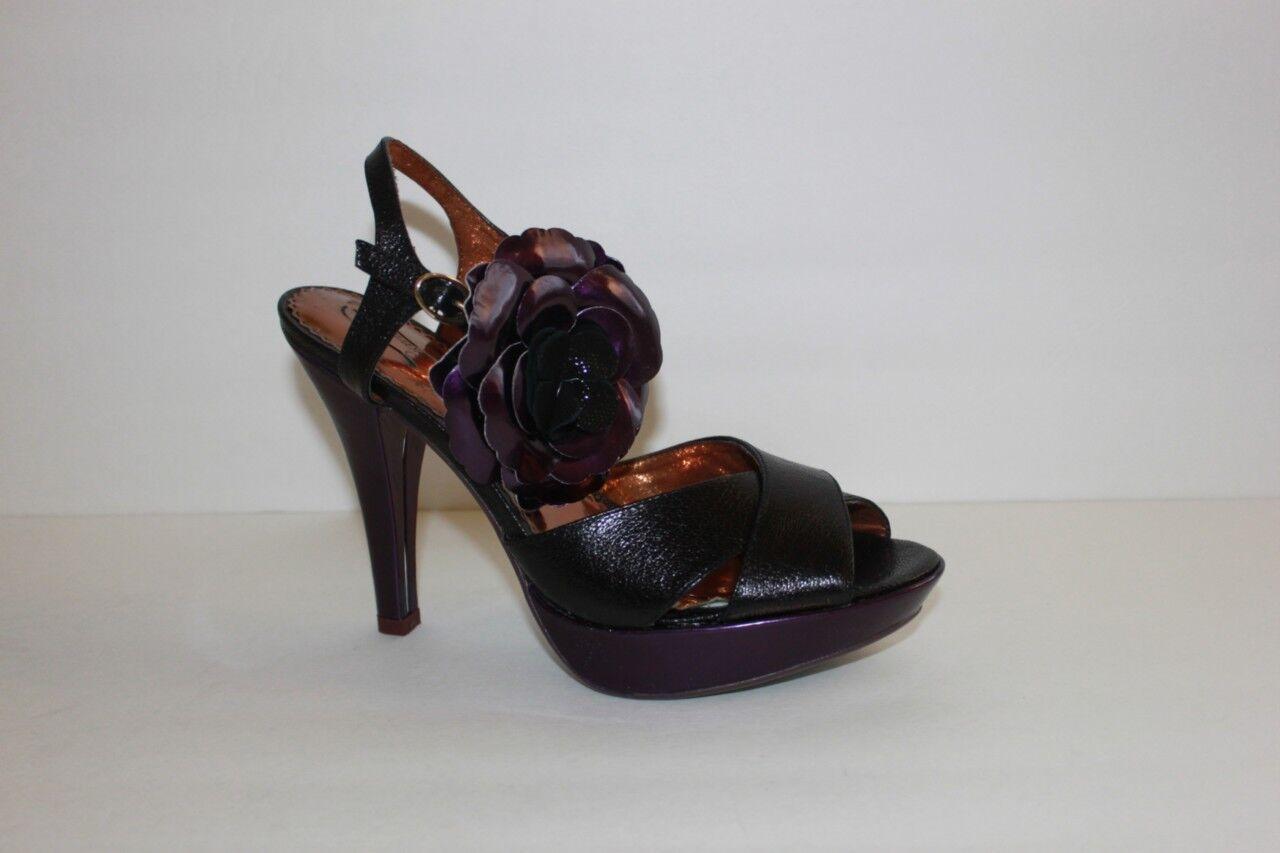 Poetic Licence Belle Black Leather Platform High Heel Sandal Size 8.5 M