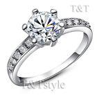 TTstyle 18K White Gold Plated Nice Engagement Wedding Ring