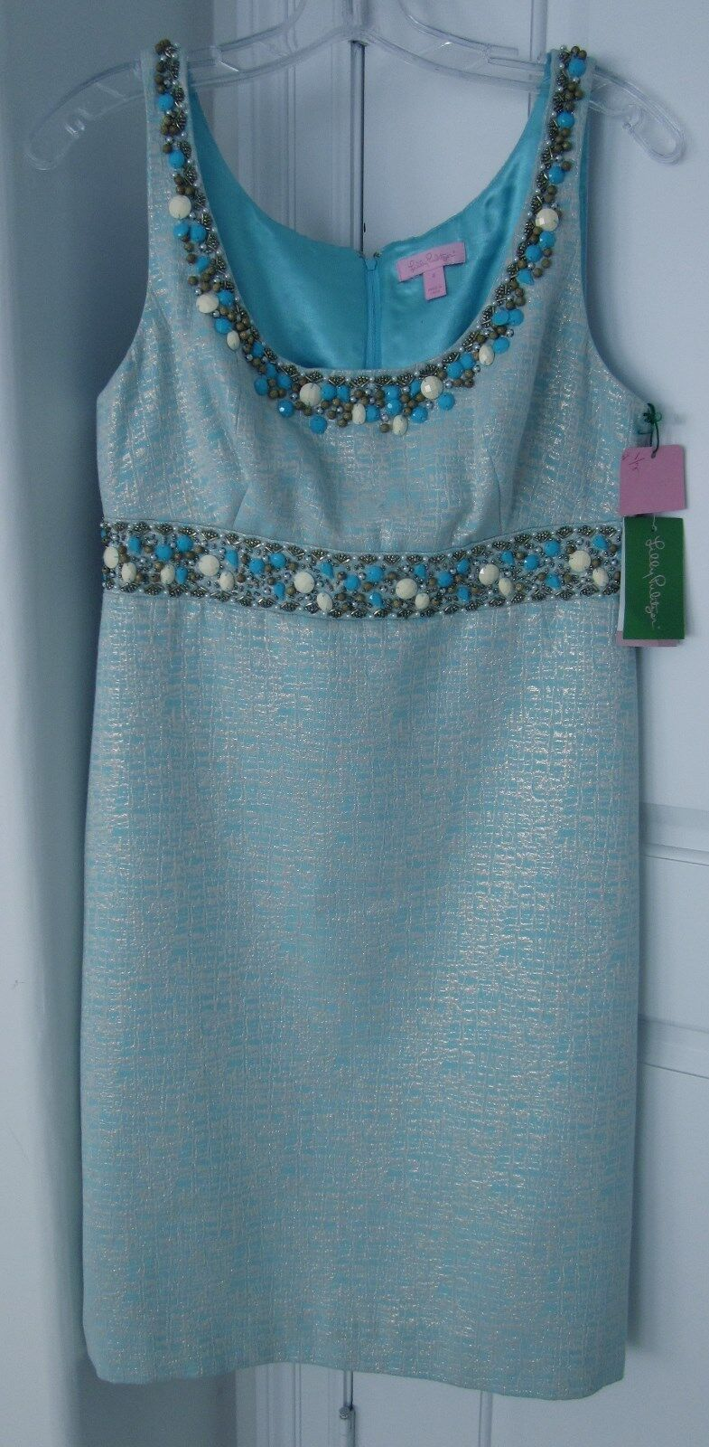 Lilly Pulitzer Pulitzer Pulitzer Stunning Shorely bluee Sidra Jewels Ultra Feminine NWTs Sz 8 Dress 49baf0