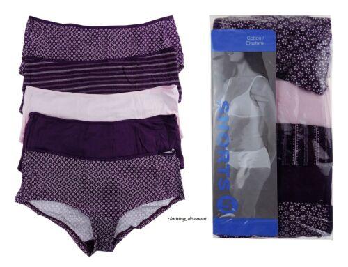 Slip intimo donna WOMANS Boy Shorts mutandine viola 8 10 12 14 16 5 conf