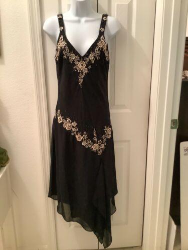 Womens 8M Formal Evening Dress Gown Black Sleevele