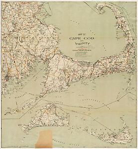 1909 Map Cape Cod, Martha\'a Vineyard, Nantucket Art Poster Print ...